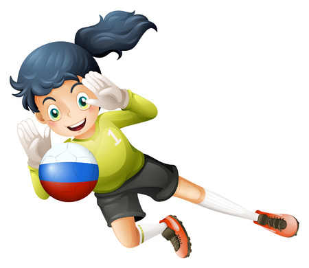 Illustration of a smiling lady using the ball with the Russian flag on a white background Vector