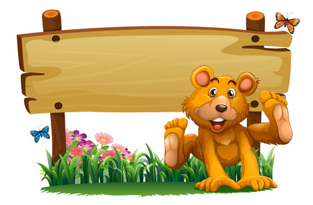 Illustration of a playful bear near the empty wooden signboard on a white background Vector
