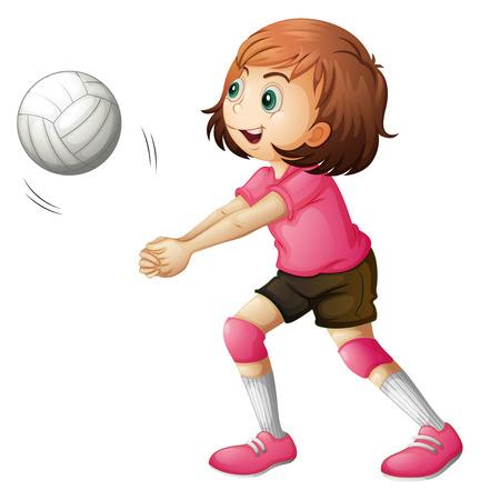 pelota de voley: Ilustración de un jugador de voleibol joven en un fondo blanco Vectores