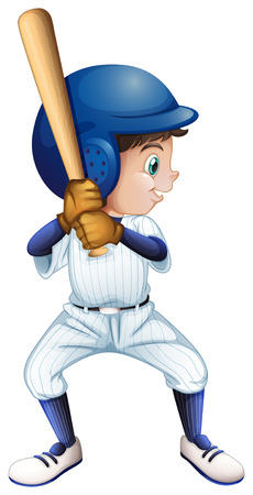 Illustration of a young male baseball player on a white background Vector