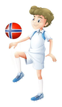 footwork: Illustration of a ball with the flag of Norway played by the football player on a white background Illustration