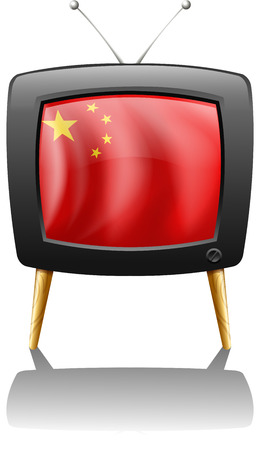 Illustration of a TV with the flag of China on a white background Vector