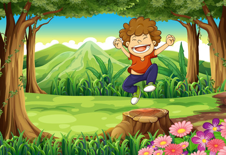 Illustration of a joyful boy at the jungle Vector