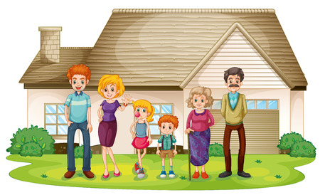 family outside: Illustration of a family outside their big house on a white background