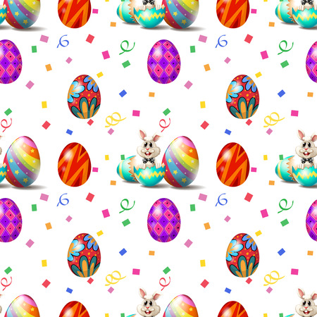 Illustration of an Easter Sunday seamless design on a white background Vector