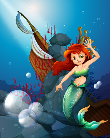 Illustration of a sea with a mermaid near the wrecked boat Vector