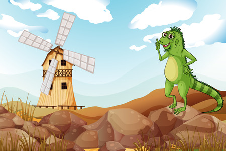 barnhouse: Illustration of a smiling lizard across the wooden barnhouse with a windmill Illustration