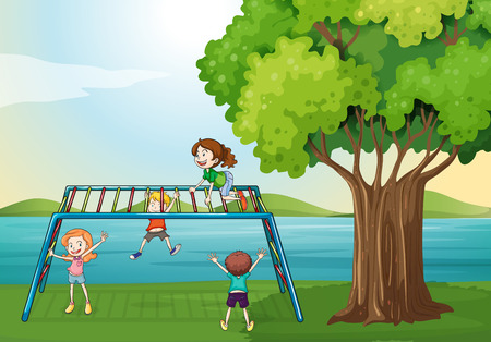 Illustration of the kids playing near the river Vector