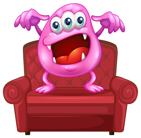 Illustration of a chair with a pink monster on a white background Vector