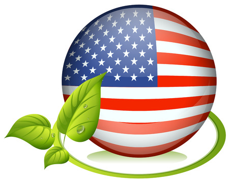 Illustration of a ball with the USA flag on a white background Vector