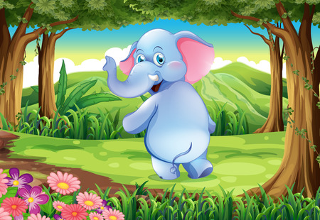 Illustration of a jungle with a blue elephant Vector