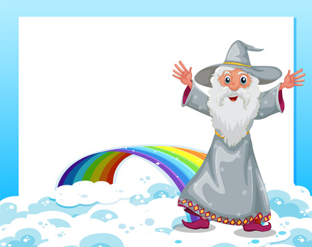Illustration of an empty template with a wizard and a rainbow Vector