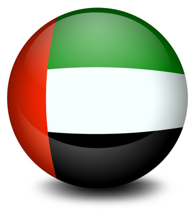 emirates: Illustration of a ball with the flag of the United Arab Emirates on a white background