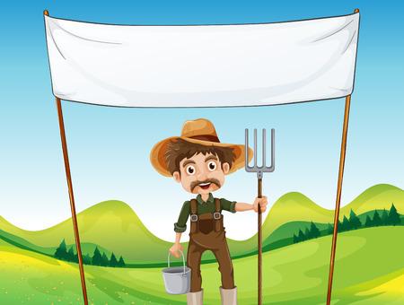 hombre con sombrero: Ilustraci�n de un agricultor por debajo de la se�alizaci�n vac�o