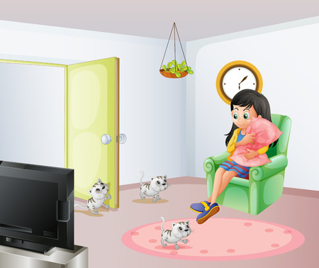 Illustration of a young girl inside the room with her pets Vector