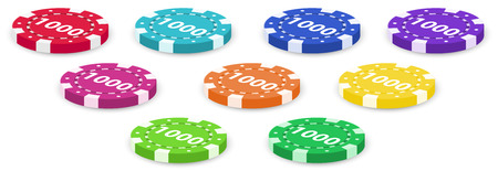 Illustration of the nine poker chips on a white background Vector