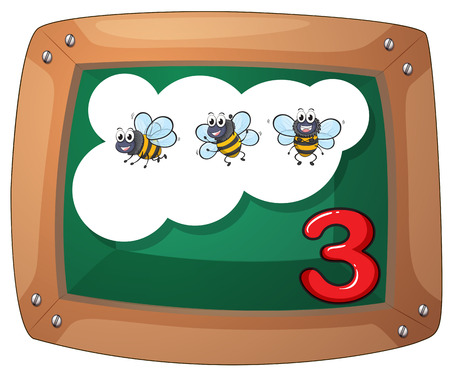 Illustration of a blackboard with three bees on a white background Vector