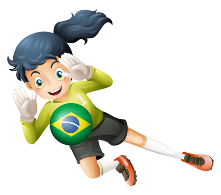 Illustration of a soccer player using the ball from Brazil on a white background Vector