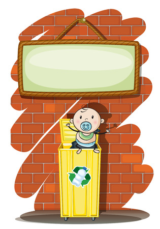 Illustration of a trashcan with a baby below the hanging signboard on a white background Vector