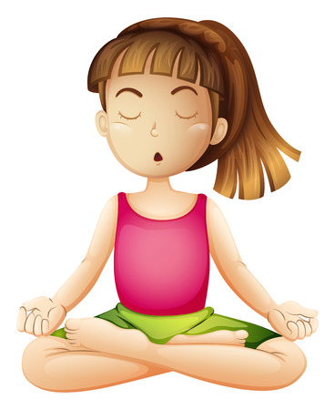 bangs: Illustration of a young lady doing yoga alone on a white background Illustration