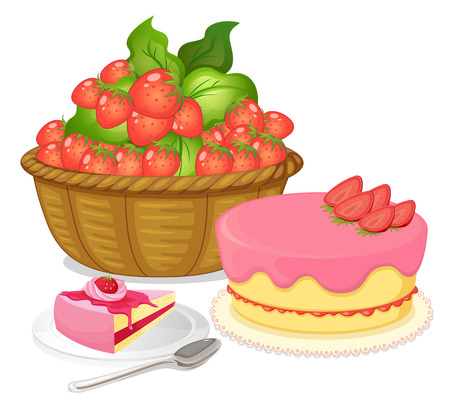 flavored: Illustration of a basket of strawberries and a strawberry flavored cake on a white background
