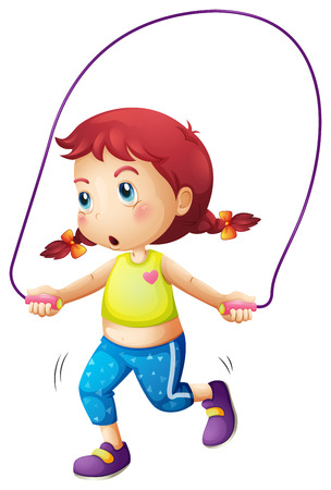 Illustration of a cute little girl playing skipping rope on a white background Vector