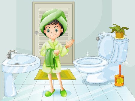 Illustration of a fresh young girl at the bathroom Vector
