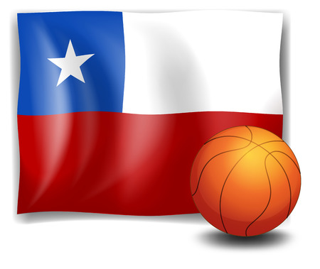 Illustration of a ball in front of the flag of Chile on a white background Vector