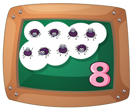 Illustration of a blackboard with eight insects on a white background Vector