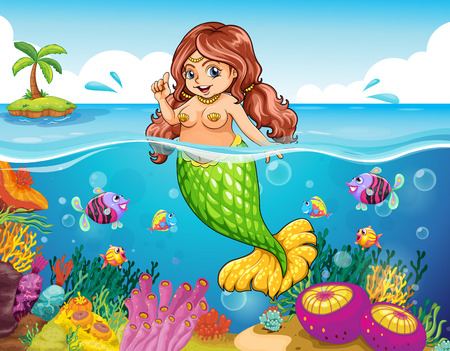 Illustration of a sea with a smiling mermaid Vector