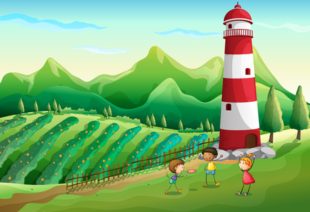 Illustration of the three cute kids at the farm playing near the tower Illustration