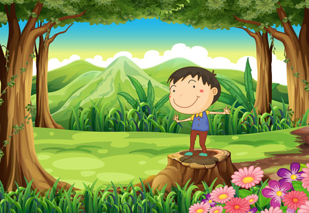 Illustration of a cute young boy above the stump at the jungle Vector