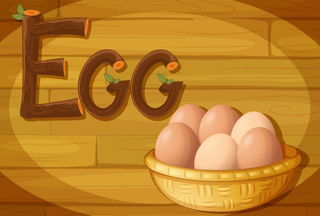 brownish: Illustration of a frame with a basket of eggs