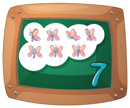 Illustration of a blackboard with seven butterflies on a white background Vector