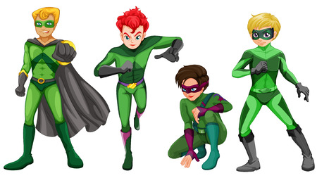 Illustration of the green heroes on a white background Vector