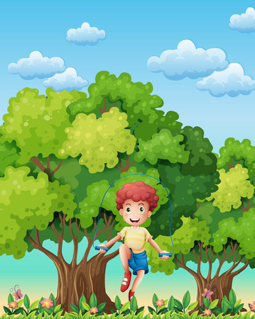 Illustration of a boy playing with the skipping rope near the trees Vector