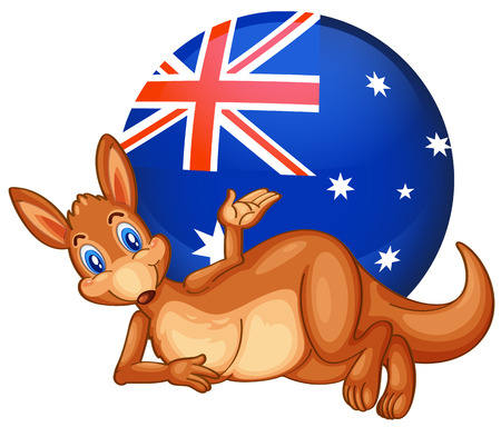 australian flag: Illustration of a kangaroo in front of the ball with the Australian flag on a white background Illustration