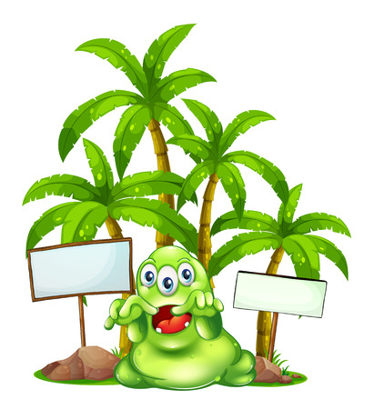 Illustration of a monster with empty signboards on a white background Vector