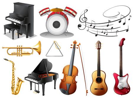 Illustratie van de reeks van muzikale instrumenten op een witte achtergrond