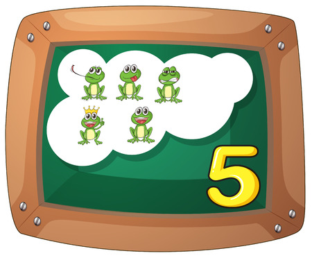 Illustration of a blackboard with five frogs on a white background Vector