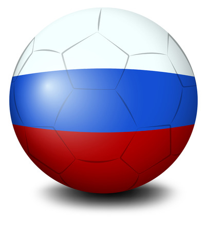 footwork: Illustration of a soccer ball designed with the Russian flag on a white background