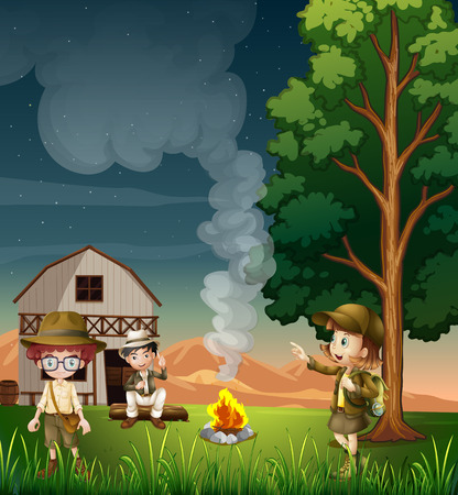 Illustration of the kids near the campfire Vector