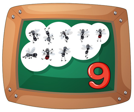 Illustration of a blackboard with nine flies on a white background Vector