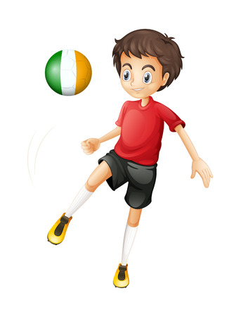 footwork: Illustration of a young soccer player from Ireland on a white background
