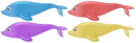 Illustration of the four colorful dolphins on a white background Vector