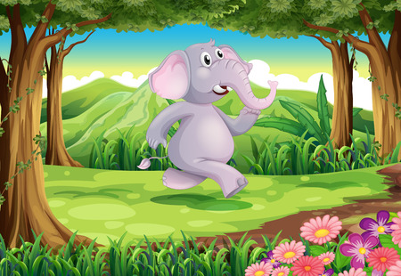 Illustration of a jungle with a gray elephant Vector