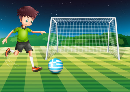 Illustration of a soccer ball at the field with the flag of Greece Vector