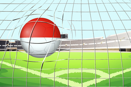 Illustration of a soccer ball with the flag of Monaco Vector