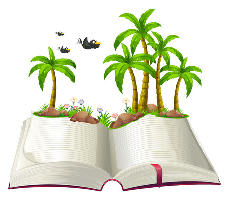Illustration of an open book with coconut trees and birds on a white background Vector