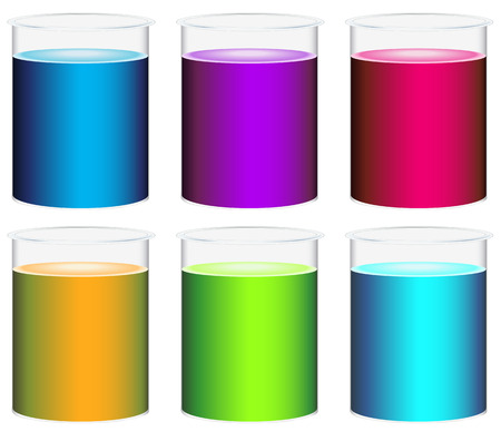 Illustration of the colourful beakers on a white background Ilustração
